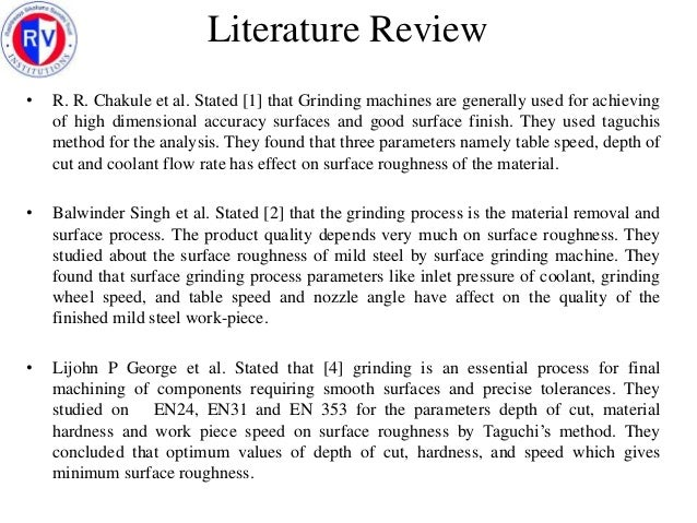 Literature review in report
