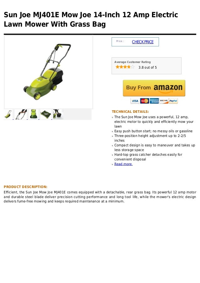 Sun joe mj401 e mow joe 14 inch 12 amp electric lawn mower with grass bag