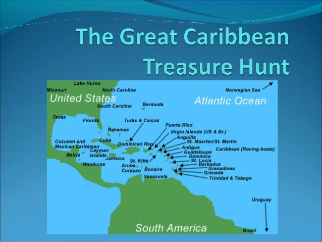 """The Great Caribbean Treasure Hunt   Christopher Columbus discovered America, landing on 12th October  1492, on """"Guanahani..."""