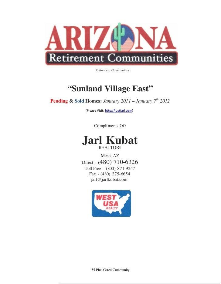 Sunland Village East   Market Update  January 2012