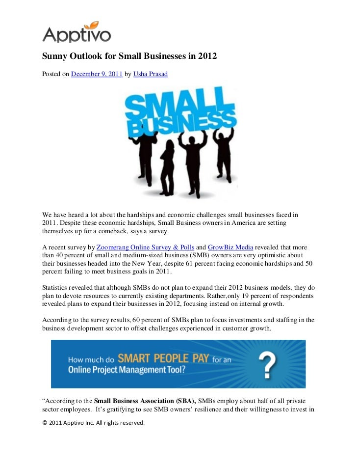Sunny outlook for small businesses in 2012
