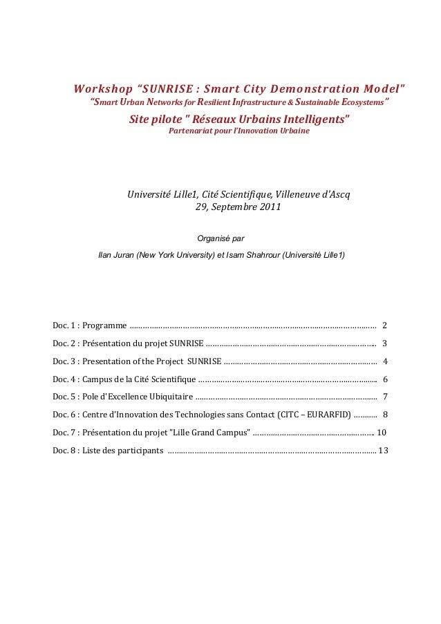 Organisé par Ilan Juran (New York University) et Isam Shahrour (Université Lille1) Doc.  1  :  Programme  ………………...