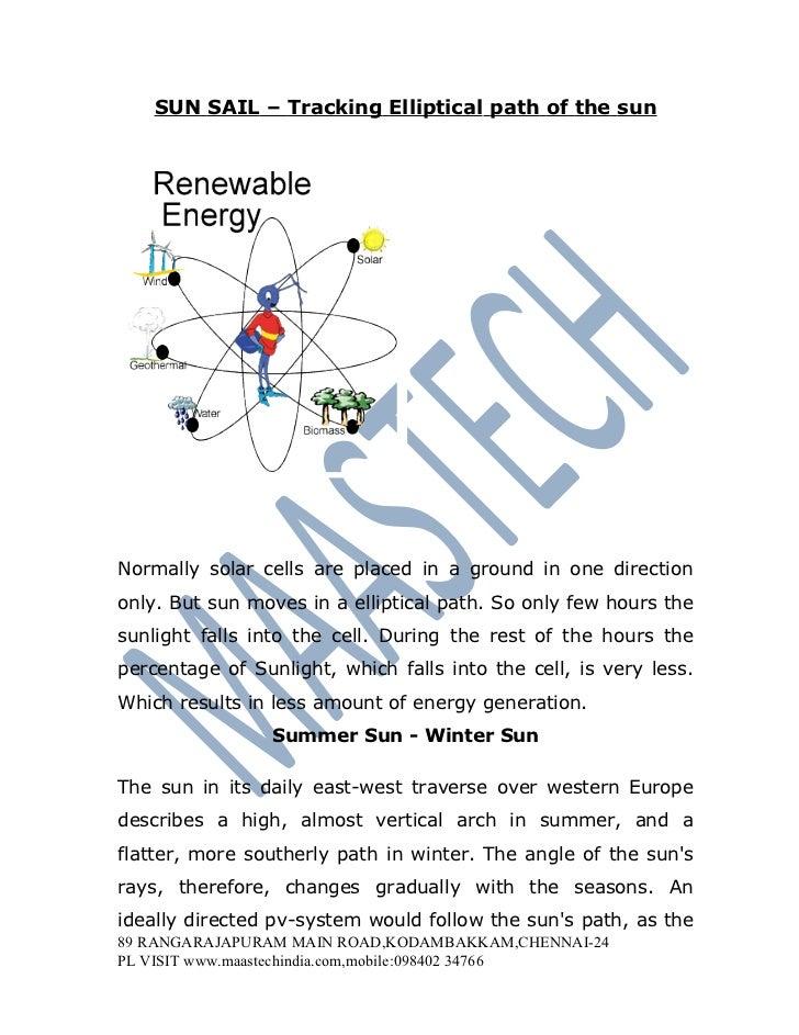 SOLAR TRACKING USING STEPPER MOTOR-Sun sail  tracking elliptical path of the sun