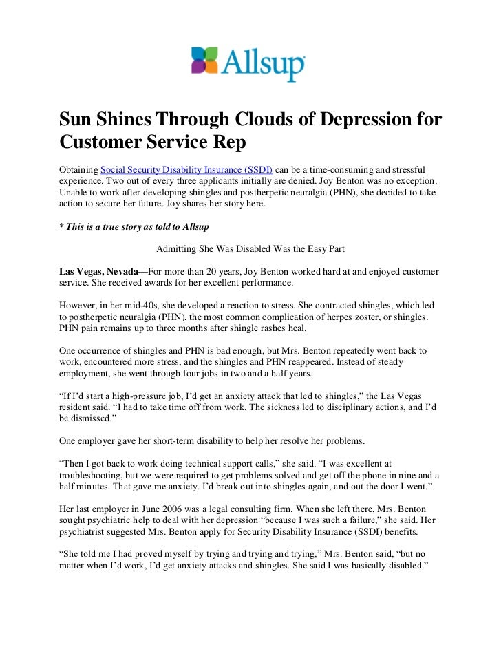 Sun Shines Through Clouds of Depression forCustomer Service RepObtaining Social Security Disability Insurance (SSDI) can b...