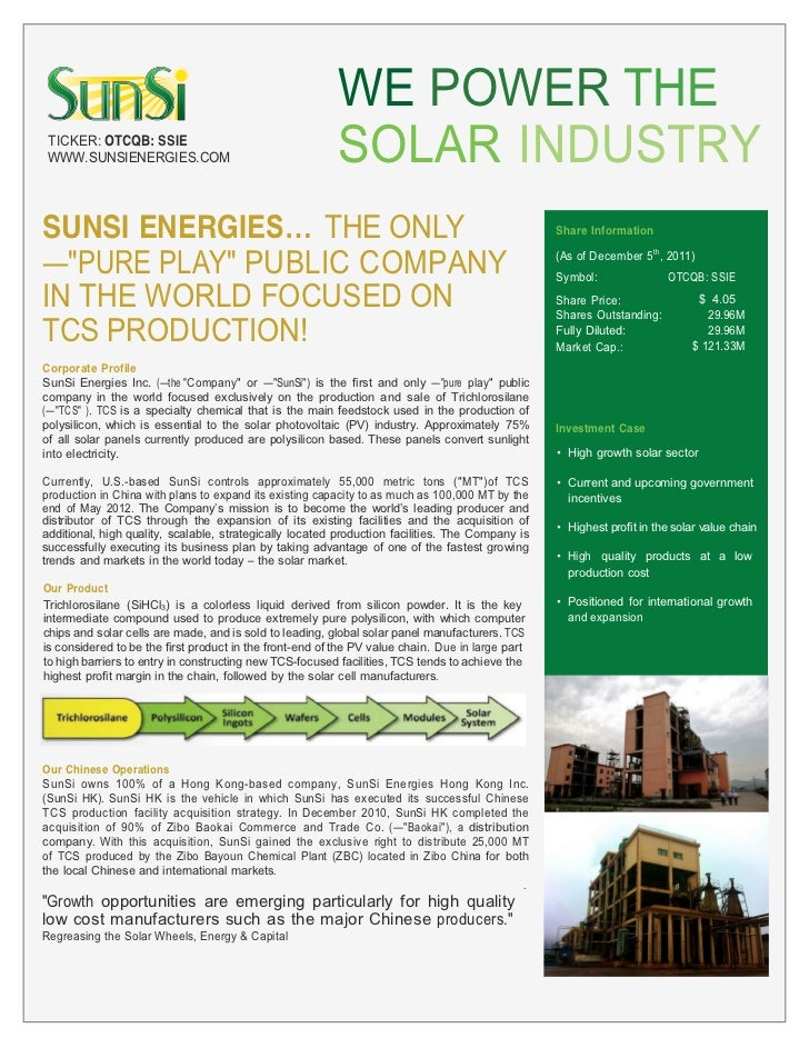 WE POWER THE TICKER: OTCQB: SSIE WWW.SUNSIENERGIES.COM                                    SOLAR INDUSTRYSUNSI ENERGIE     ...