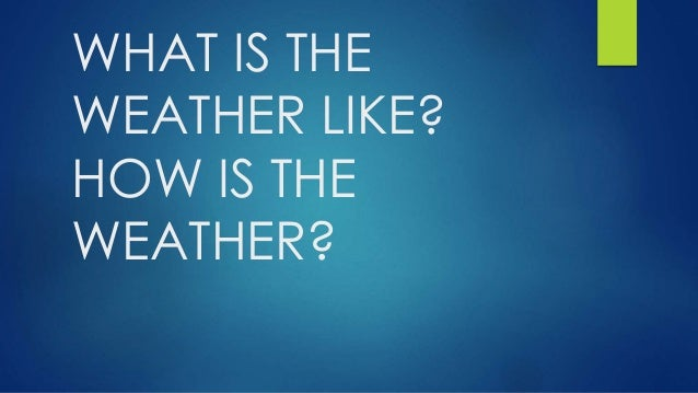 WHAT IS THE WEATHER LIKE? HOW IS THE WEATHER?