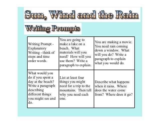 Sun wind and rain writing prompt