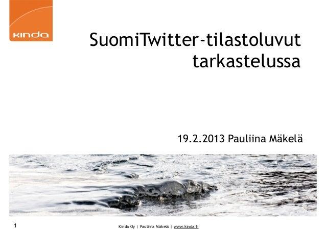SuomiTwitter-tilastoluvut               tarkastelussa                                    19.2.2013 Pauliina Mäkelä1      K...