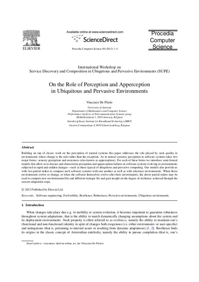 On the Role of Perception and Apperception in Ubiquitous and Pervasive Environments
