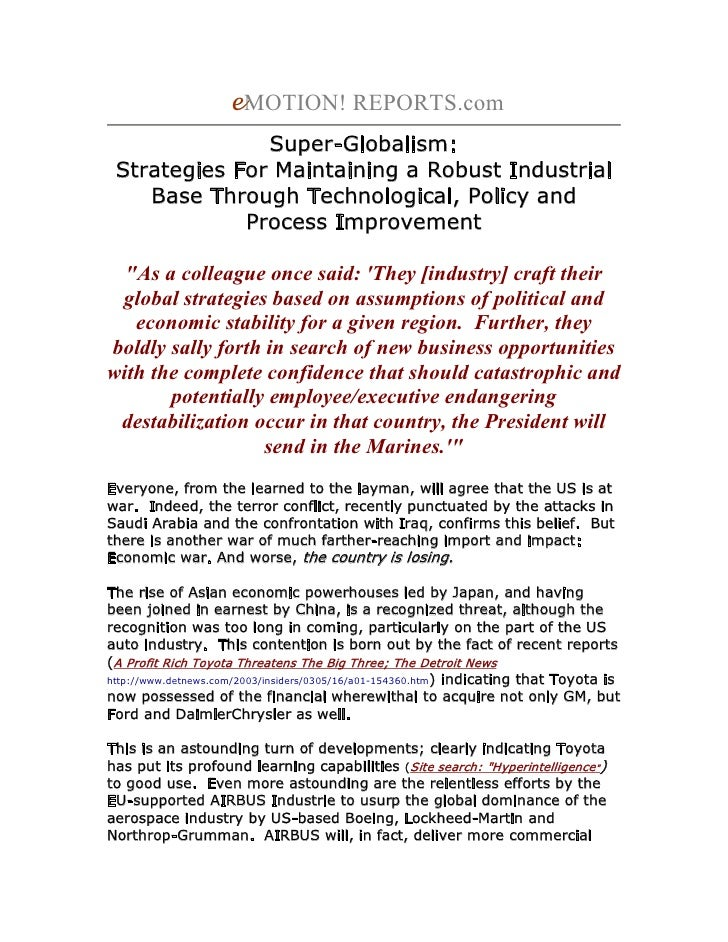 Super-Globalism: Strategies For Maintaining A Robust Industrial Base Through Technological, Policy and Process Improvement