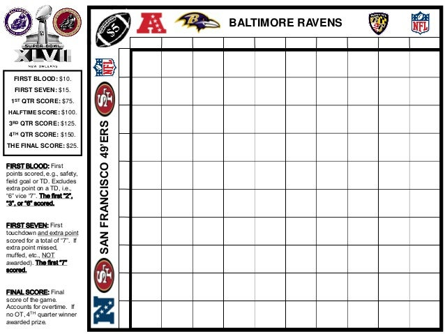 SUPER BOWL XLVII OFFICE POOL GRID