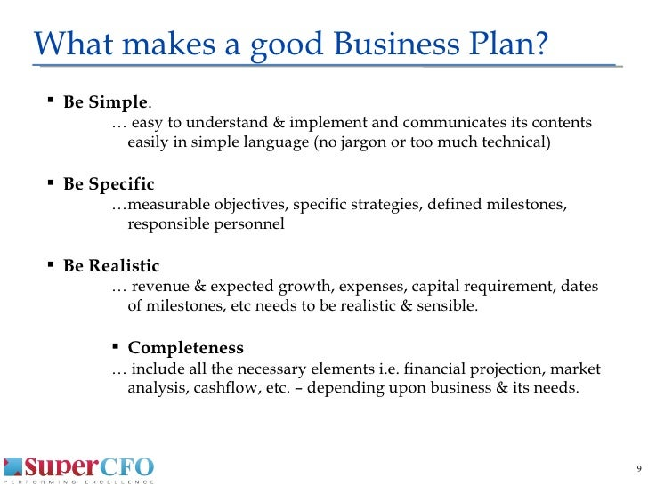 What makes a good business plan