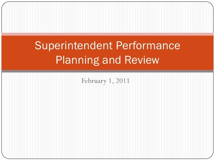 Superintendent performance planning and review