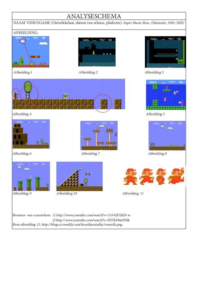ANALYSESCHEMANAAM VIDEOGAME (Ontwikkelaar, datum van release, platform): Super Mario Bros. (Nintendo, 1985, NES)AFBEELDING...