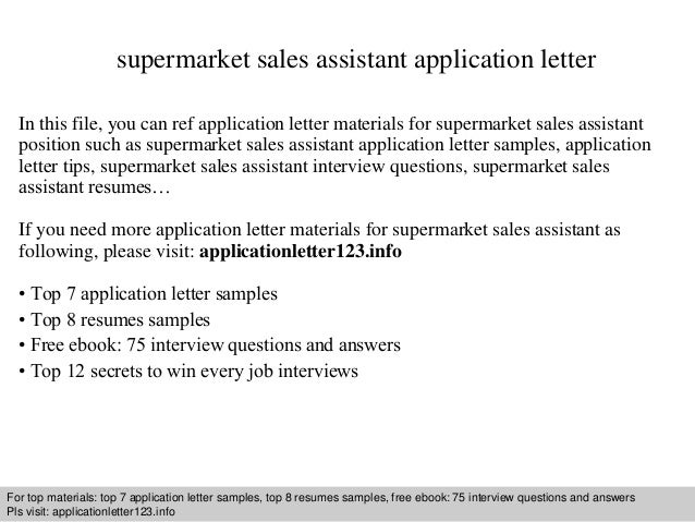 Supermarket Sales Assistant Application Letter