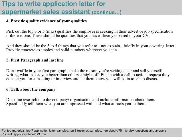 supermarket  s assistant application letter