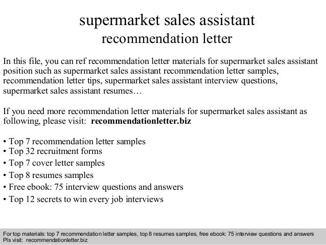 Supermarket Shop Assistant Covering Letter