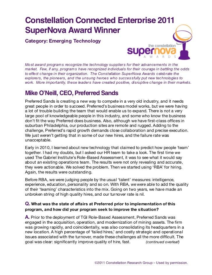 Constellation Connected Enterprise 2011SuperNova Award WinnerCategory: Emerging TechnologyMost award program s recognize t...