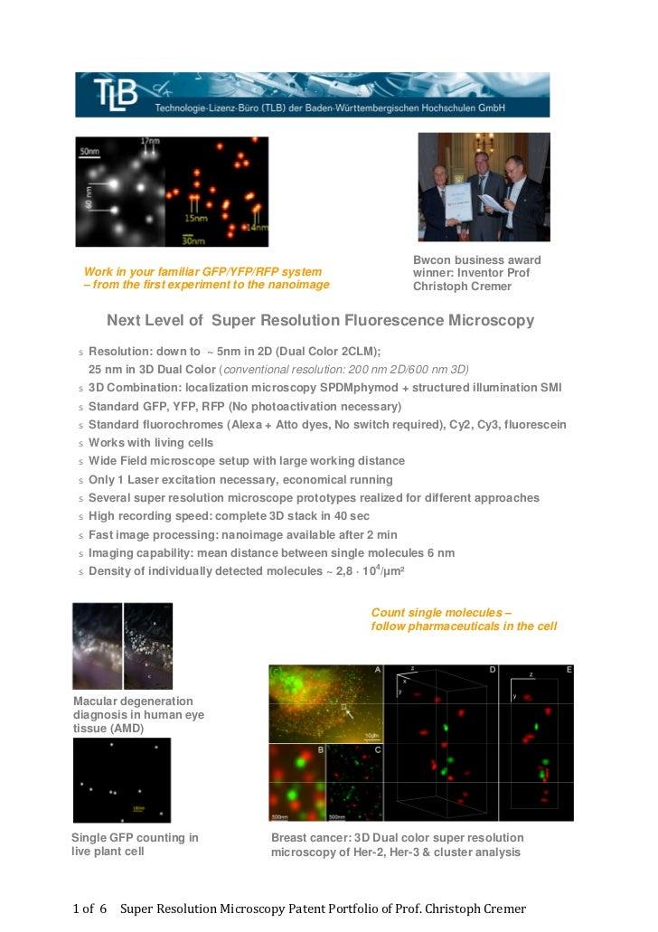 Super Resolution Microscopy Christoph Cremer