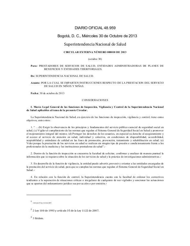 DIARIO OFICIAL 48.959   Bogotá, D. C., Miércoles 30 de Octubre de 2013  Superintendencia  Nacional  de  Salud  ...