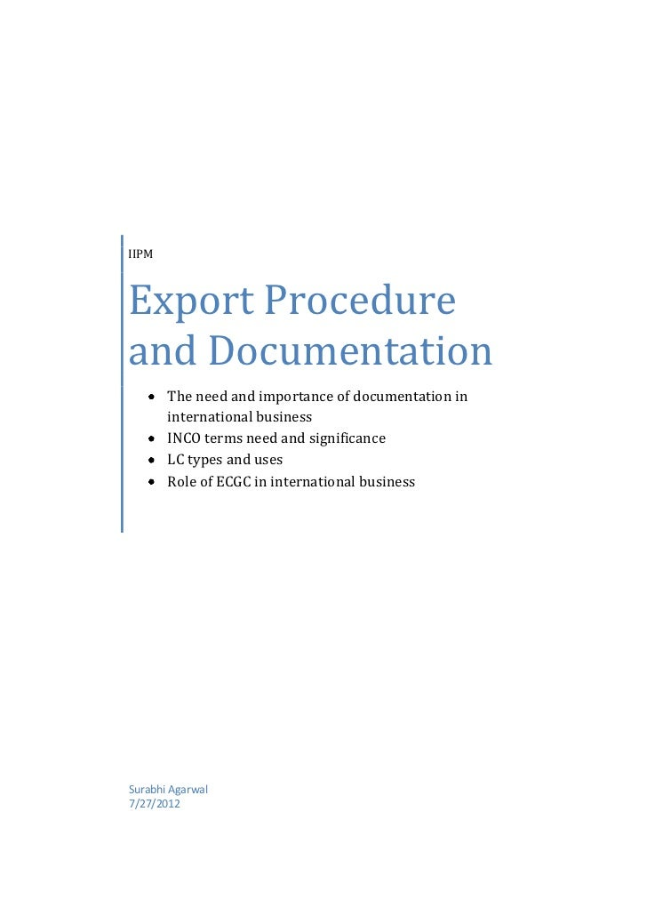 IIPMExport Procedureand Documentation       The need and importance of documentation in       international business      ...