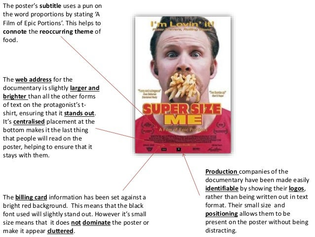supersize me essay summary The documentary super size me, written and directed by morgan spurlock, took me by surprise in so many ways they say, if you can't find anyone else use yourself, and that is exactly what morgan did to make this documentary more relatable to his audience.