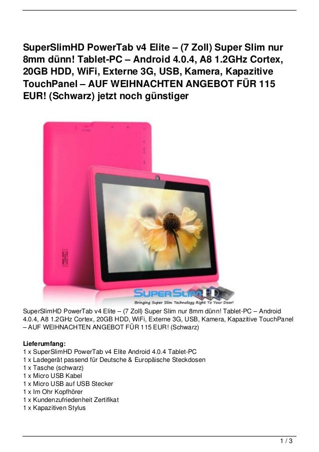 SuperSlimHD PowerTab v4 Elite – (7 Zoll) Super Slim nur8mm dünn! Tablet-PC – Android 4.0.4, A8 1.2GHz Cortex,20GB HDD, WiF...