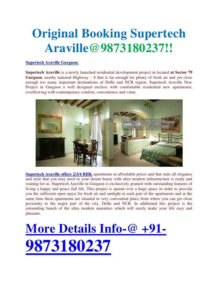 Original Booking Supertech    Araville@9873180237!!Supertech Araville Gurgaon:Supertech Araville is a newly launched resid...