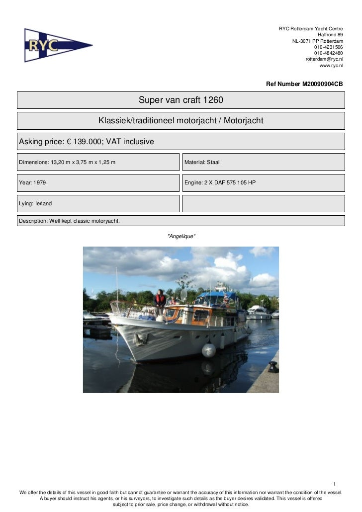 Super van craft 1260. Classic motoryacht. FOR SALE (Price: EURO 117.500)