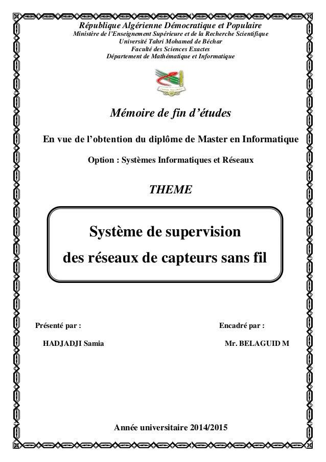 République Algérienne Démocratique et Populaire Ministère de l'Enseignement Supérieure et de la Recherche Scientifique Uni...