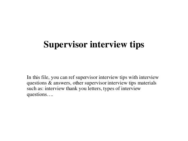 how to answer supervisor interview questions