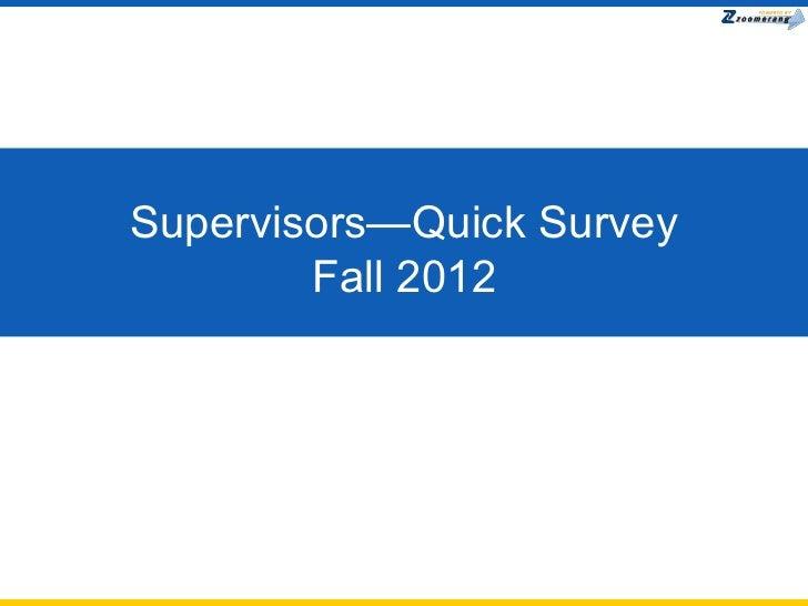 Supervisor Onboarding Survey Fall 2012
