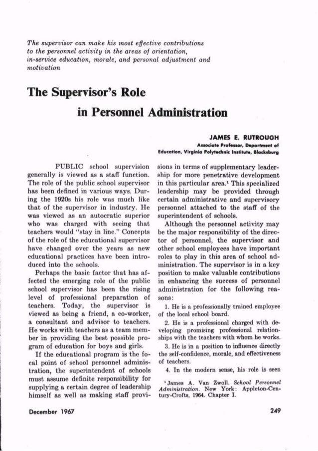 Supervisor's role