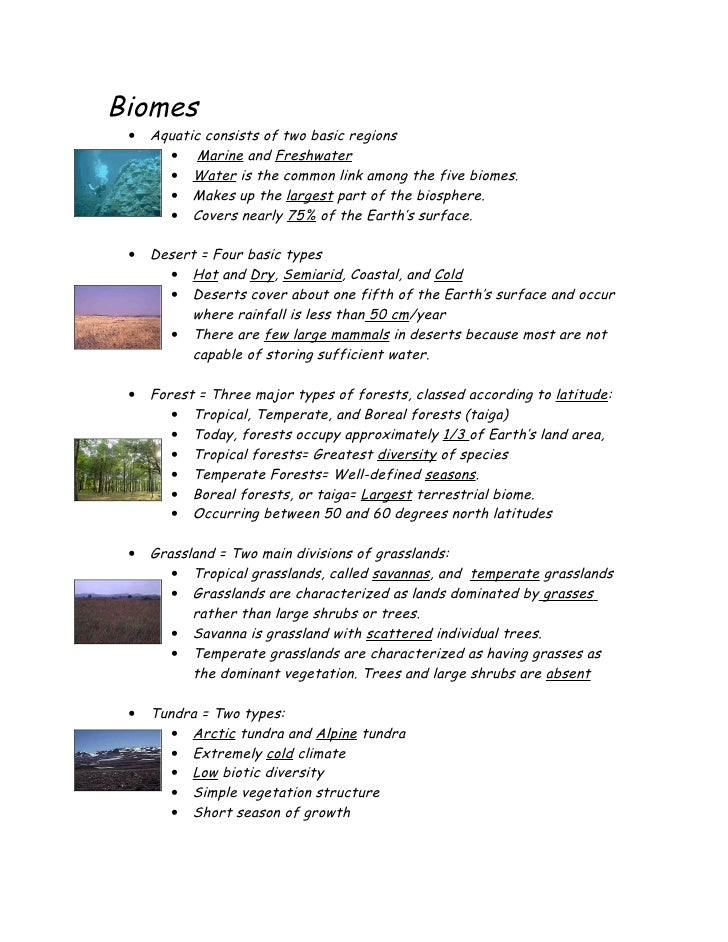 Biomes  •   Aquatic consists of two basic regions        • Marine and Freshwater        • Water is the common link among t...