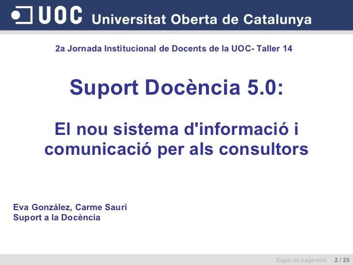 Suport Docència 5.0:   El nou sistema d'informació i comunicació per als consultors Espai de paginació  2 / 25 2a Jornada ...