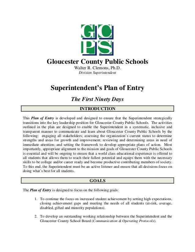 Gloucester, VA School Board Sup Plan of Entry July 2014
