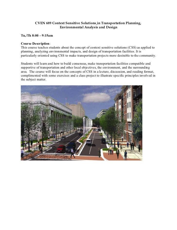 CVEN 689 Context Sensitive Solutions in Transportation Planning,                       Environmental Analysis and DesignTu...