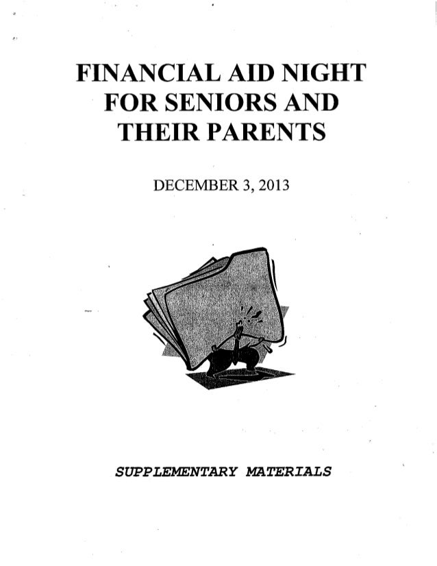 Supplemental Materials from Senior Financial Aid Night 2013