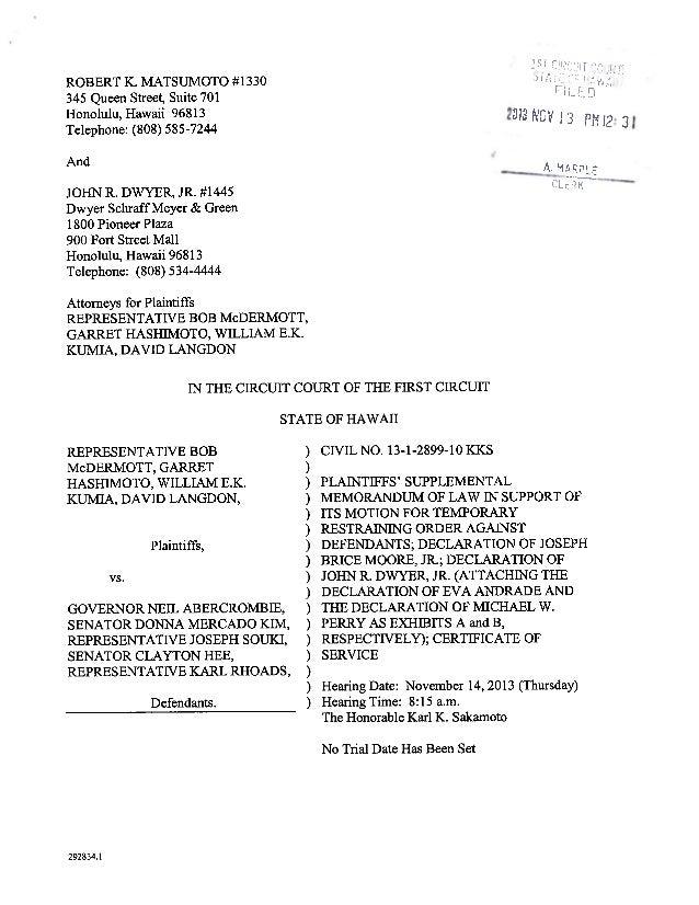 Supplemental memorandum in support of mc dermott lawsuit