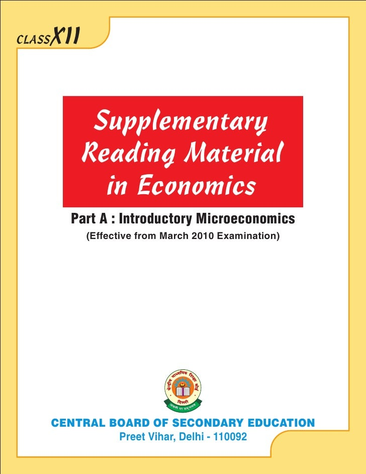 CLASS   XII                  Supplementary               Reading Material                 in Economics           Part A : ...