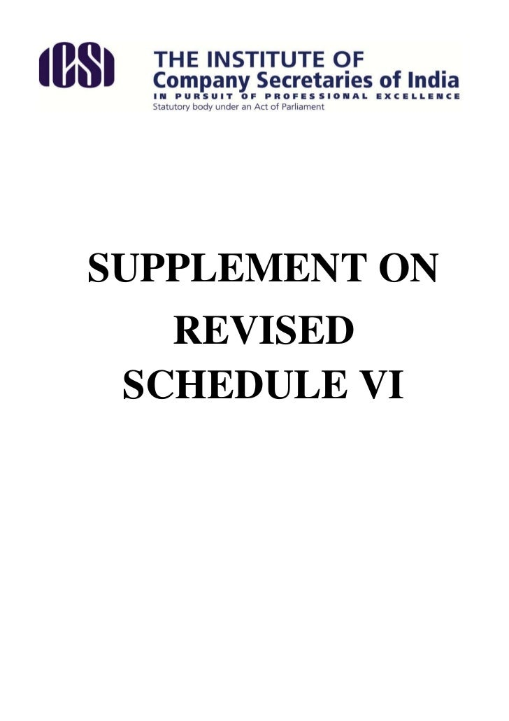 Supplement on revised schedule vi 110512