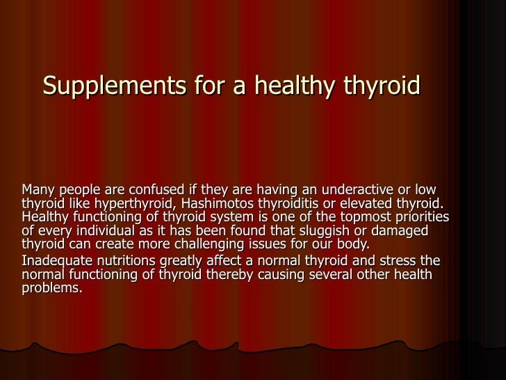 supplements for thyroid problems