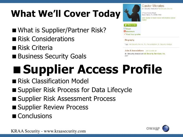 supplier risk assessment Financial institutions are being held accountable for the actions of their suppliers a new approach can help to identify and manage sources of third-party risk.