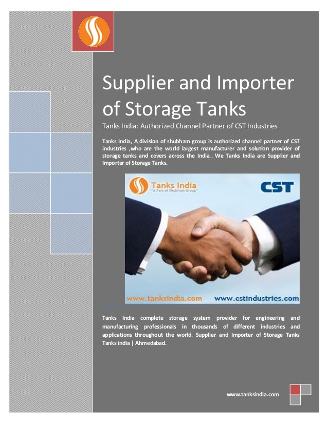 Supplier and importer of storage tanks - tanks india