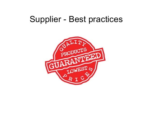Supplier best practices