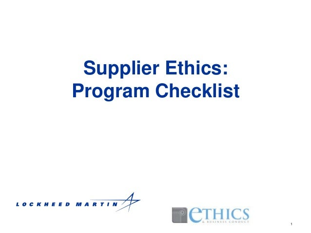 Supplier Ethics: Program Checklist  1