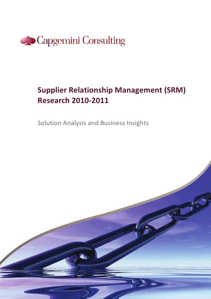 Supplier Relationship Management  Srm  Research 2010 2011
