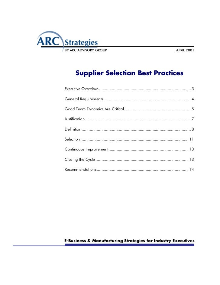 Supplier selection best practices