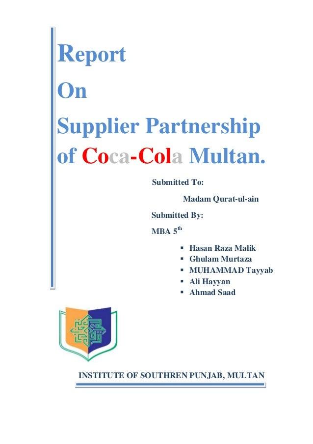 Supplire Partnership Coca Cola Multan TQM