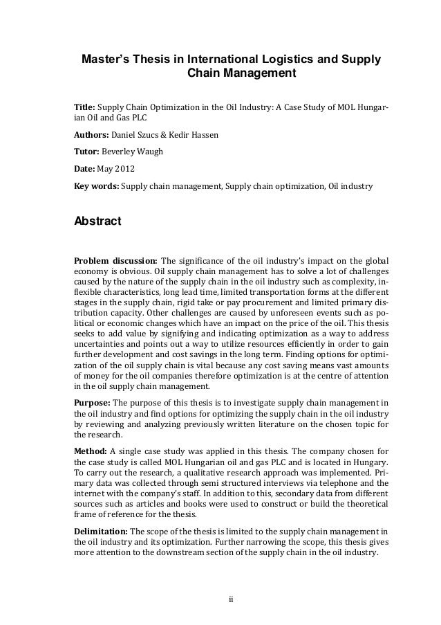 thesis supply chain integration Supply chain integration within the context of a supplier association : case  studies of four supplier associations aitken, james.